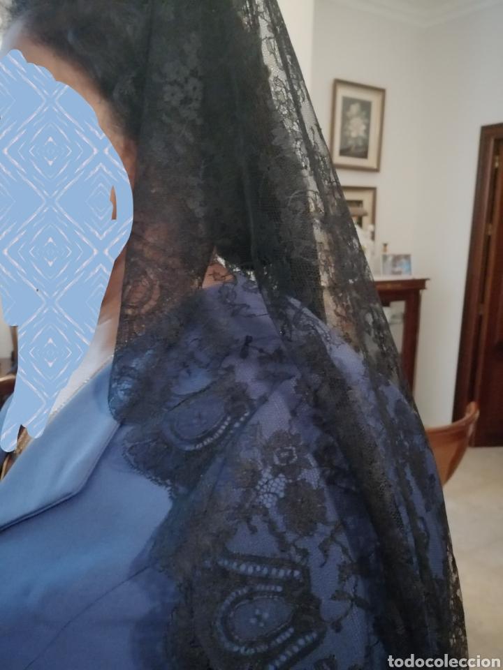 Antigüedades: Magnífica y finisima mantilla de Chantilly francés. - Foto 5 - 196292477