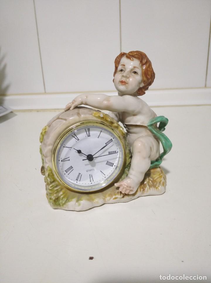 ALGORA, ANTIGUO ÁNGEL CON RELOJ DE PORCELANA (Antigüedades - Porcelanas y Cerámicas - Algora)