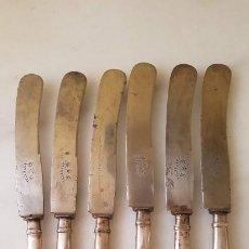 Antigüedades: CUCHILLOS MANGO PLATA. Lote 196346090