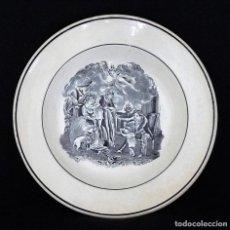 Antigüedades: PLATO HONDO ESTAMPADO CON ¨AMOR CONYUGAL¨.. Lote 196347970