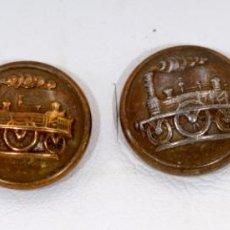 Antigüedades: PAREJA DE GEMELOS DE FERROVIARIO . Lote 196354322