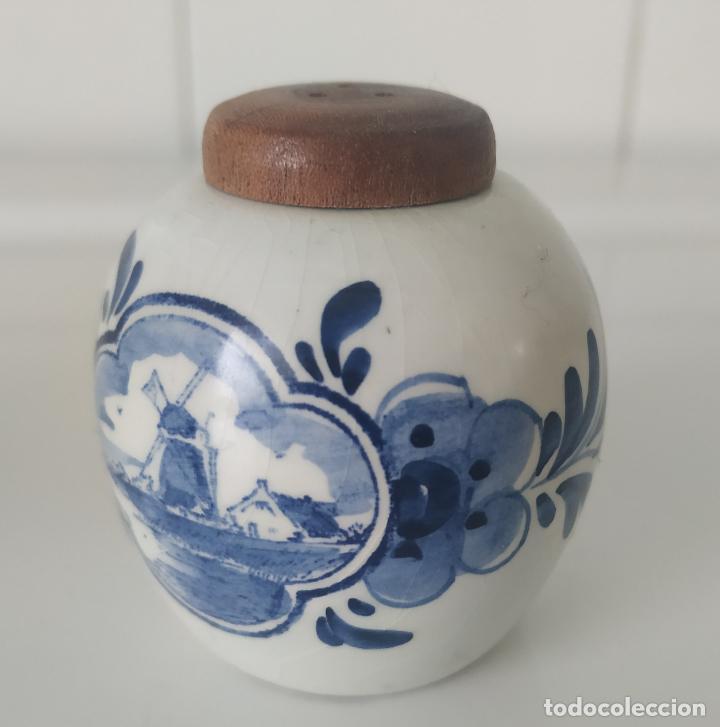 Antigüedades: Pequeños salero y azucarero de porcelana holandesa de Delf. - Foto 8 - 196377428