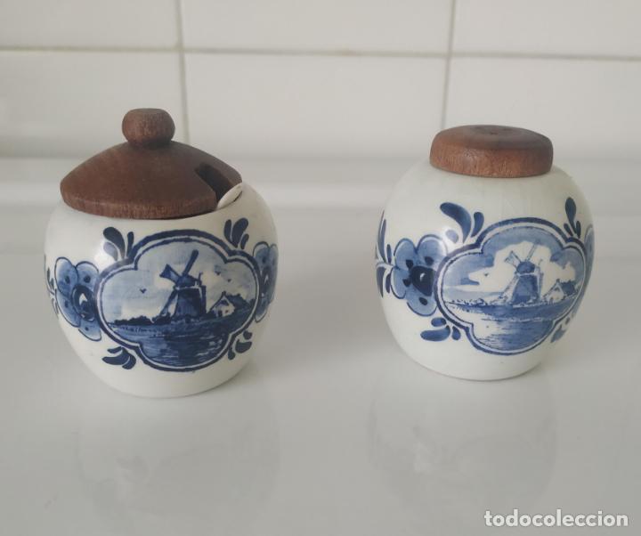PEQUEÑOS SALERO Y AZUCARERO DE PORCELANA HOLANDESA DE DELF. (Antigüedades - Porcelana y Cerámica - Holandesa - Delft)