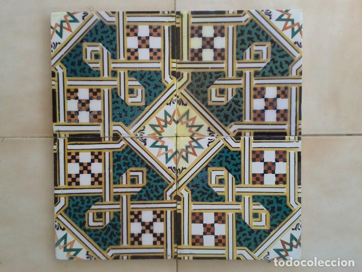 AZ-73A 4 AZULEJOS ANTIGUOS MOZARABES (Antigüedades - Porcelanas y Cerámicas - Azulejos)