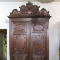 Antigüedades: PRECIOSO ARMARIO CATALÁN ANTIGUO - MADERA DE NOGAL Y FINA MARQUETERÍA - REMATE ORIGINAL - AÑO 1766. Lote 196475810