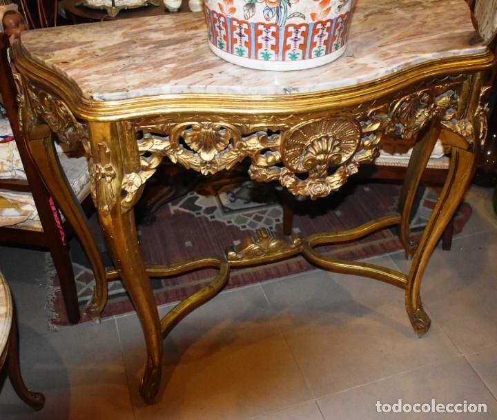 MUY BONITA CONSOLA ANTIGUA DE ORO FINO (Antigüedades - Muebles Antiguos - Consolas Antiguas)