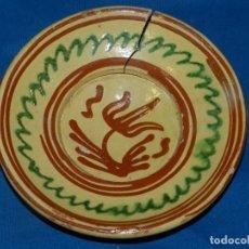 Antigüedades: CERAMICA PLATO POPULAR CATALANA DE VOLTA S,XVIII , 19CM. DE ALTURA,VER FOTOS ADICIONALES. Lote 196485172