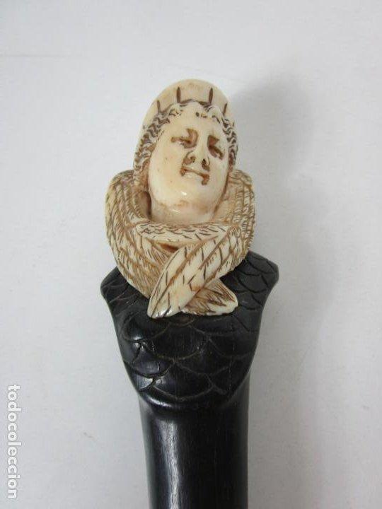 Antigüedades: Bonito Bastón - Empuñadura con Busto de Dama - Hueso, Marfil - Madera Ébano -de Colección!!! -S. XIX - Foto 4 - 196511322