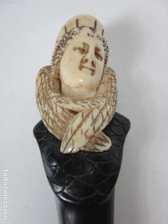Antigüedades: Bonito Bastón - Empuñadura con Busto de Dama - Hueso, Marfil - Madera Ébano -de Colección!!! -S. XIX - Foto 5 - 196511322