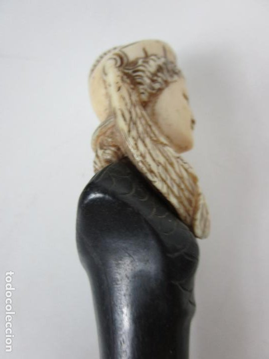 Antigüedades: Bonito Bastón - Empuñadura con Busto de Dama - Hueso, Marfil - Madera Ébano -de Colección!!! -S. XIX - Foto 7 - 196511322