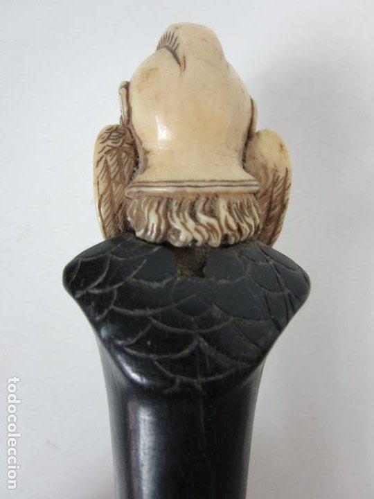 Antigüedades: Bonito Bastón - Empuñadura con Busto de Dama - Hueso, Marfil - Madera Ébano -de Colección!!! -S. XIX - Foto 9 - 196511322