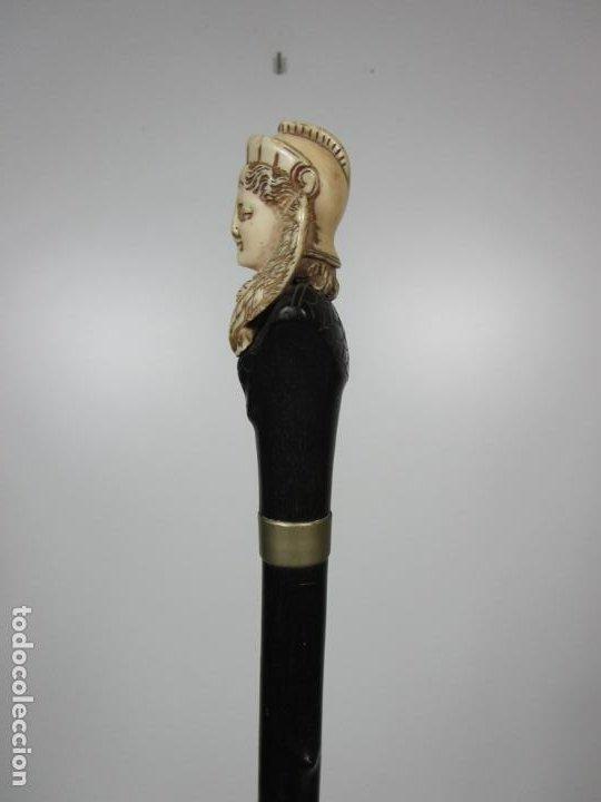 Antigüedades: Bonito Bastón - Empuñadura con Busto de Dama - Hueso, Marfil - Madera Ébano -de Colección!!! -S. XIX - Foto 10 - 196511322