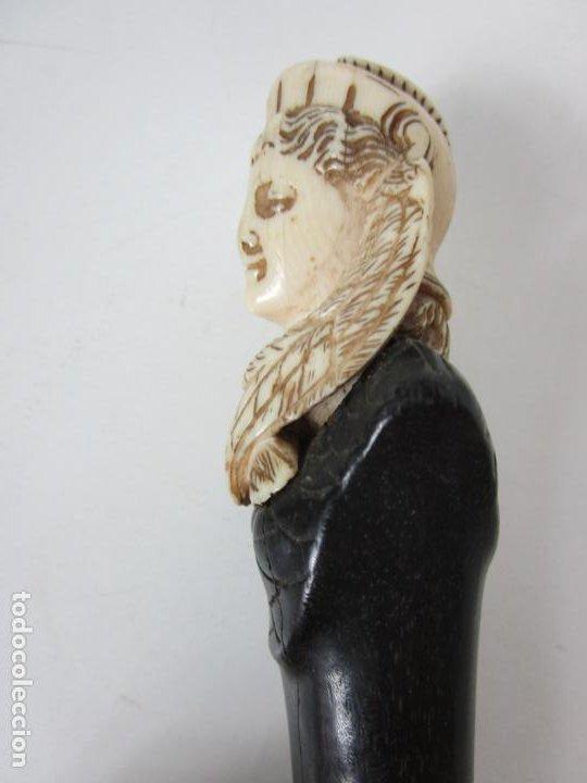 Antigüedades: Bonito Bastón - Empuñadura con Busto de Dama - Hueso, Marfil - Madera Ébano -de Colección!!! -S. XIX - Foto 11 - 196511322