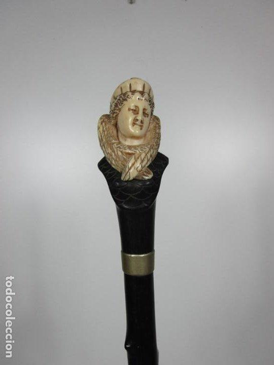 Antigüedades: Bonito Bastón - Empuñadura con Busto de Dama - Hueso, Marfil - Madera Ébano -de Colección!!! -S. XIX - Foto 13 - 196511322