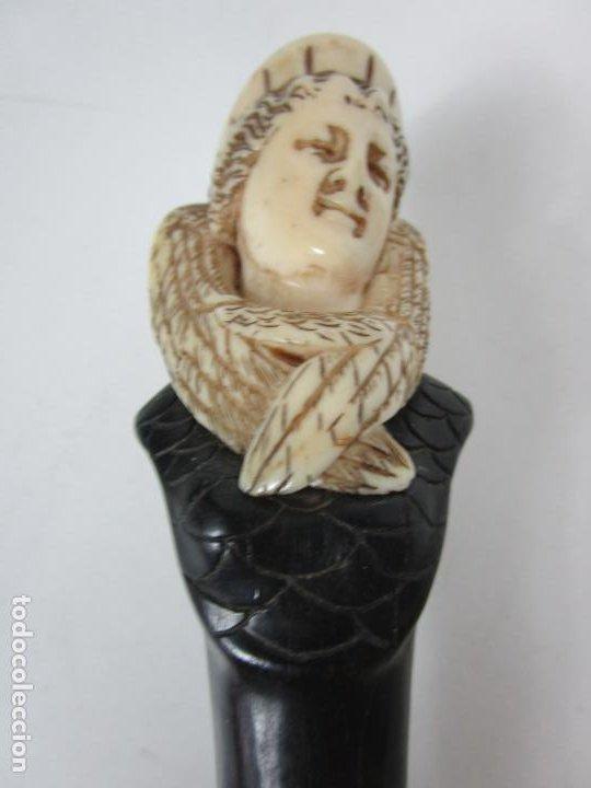 Antigüedades: Bonito Bastón - Empuñadura con Busto de Dama - Hueso, Marfil - Madera Ébano -de Colección!!! -S. XIX - Foto 14 - 196511322