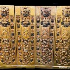 Antigüedades: TABLA DE RETABLO DORADA CON ORNAMENTOS Y MOTIVOS VEGETALES 177X53. Lote 210795176