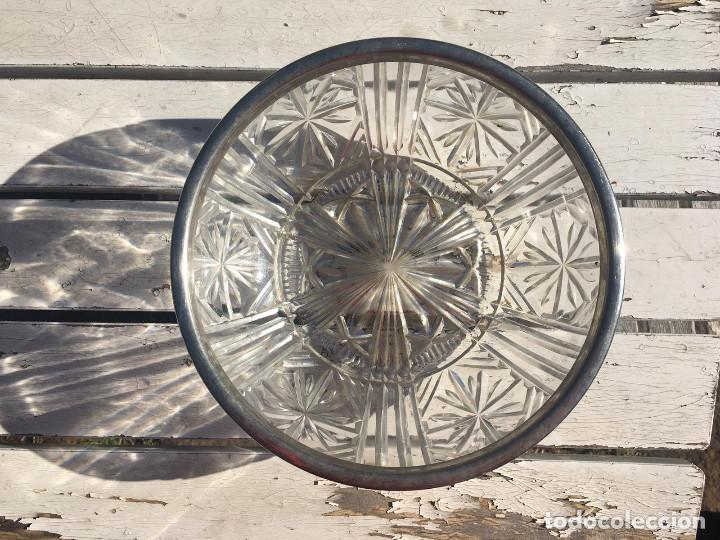 Antigüedades: Fuente de cristal de Bohemia con filo de plata. - Foto 2 - 196516853