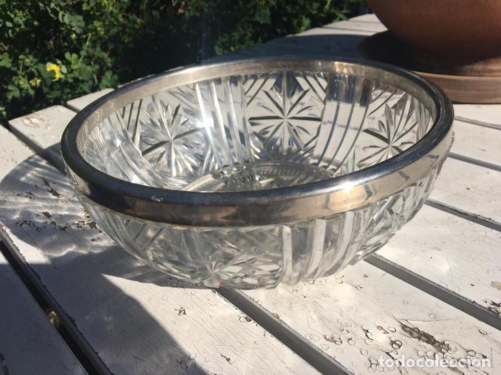Antigüedades: Fuente de cristal de Bohemia con filo de plata. - Foto 3 - 196516853