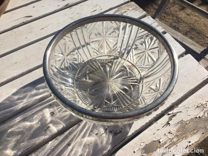Antigüedades: Fuente de cristal de Bohemia con filo de plata. - Foto 5 - 196516853