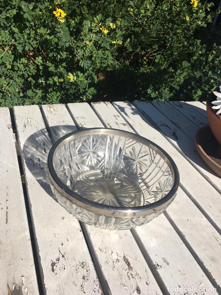 Antigüedades: Fuente de cristal de Bohemia con filo de plata. - Foto 6 - 196516853