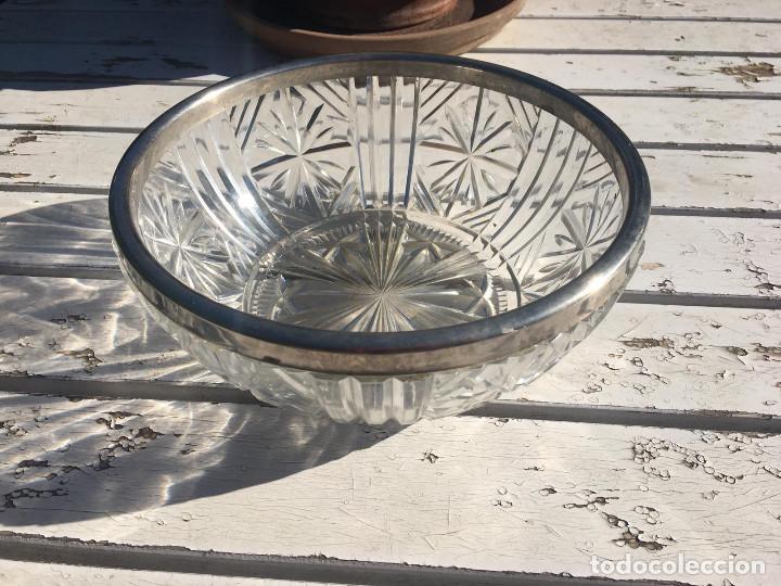Antigüedades: Fuente de cristal de Bohemia con filo de plata. - Foto 7 - 196516853
