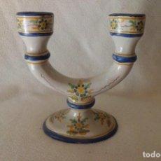 Antigüedades: CANDELERO O CANDELABRO ANTIGUO DE ALCORA. Lote 196544197