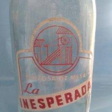 Antigüedades: BOTELLA GASEOSAS LA INESPERADA LINARES, JAEN. NÚMERO DE FABRICANTE: 3096. Lote 196595340