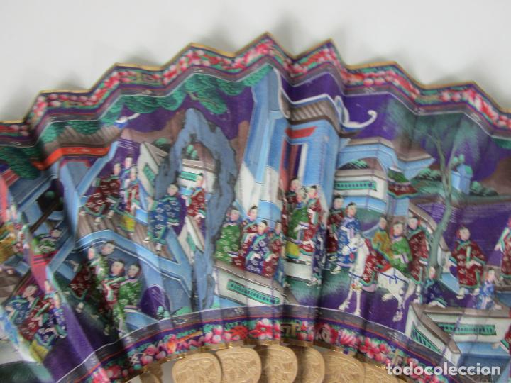 Antigüedades: Antiguo Abanico de las Mil Caras - Canton, China - Caras Marfil, Vestidos de Seda - con Caja - Foto 3 - 196640693