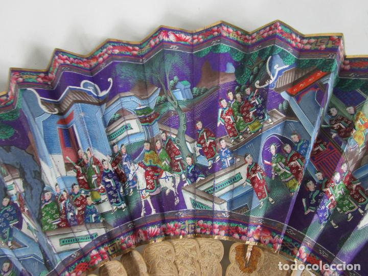 Antigüedades: Antiguo Abanico de las Mil Caras - Canton, China - Caras Marfil, Vestidos de Seda - con Caja - Foto 6 - 196640693