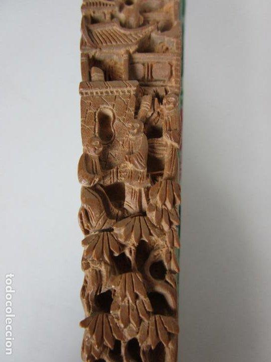 Antigüedades: Antiguo Abanico de las Mil Caras - Canton, China - Caras Marfil, Vestidos de Seda - con Caja - Foto 18 - 196640693