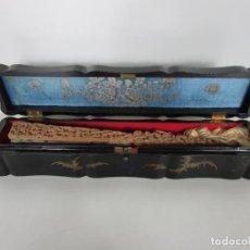 Antigüedades: ANTIGUO ABANICO DE LAS MIL CARAS - CANTON, CHINA - CARAS MARFIL, VESTIDOS DE SEDA - CON CAJA. Lote 196640693