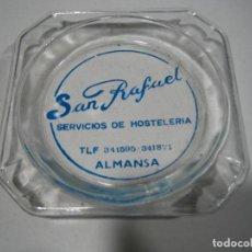 Antigüedades: ANTIGUO CENICERO CON PUBLICIDAD. SERVICIOS DE HOSTELERÍA SAN RAFAEL. ALMANSA. Lote 196642100