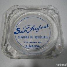 Antigüedades: ANTIGUO CENICERO CON PUBLICIDAD. SERVICIOS DE HOSTELERÍA SAN RAFAEL. ALMANSA. Lote 196642237