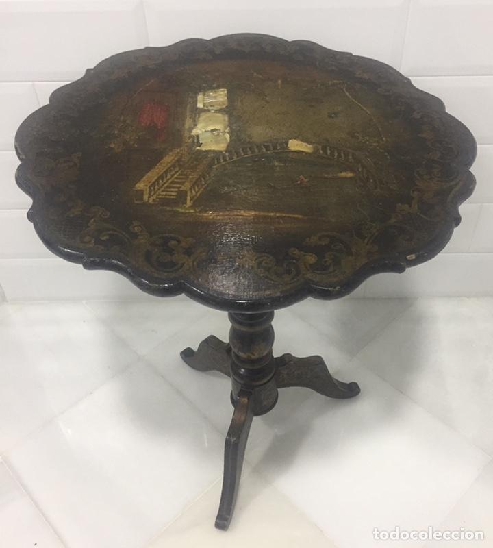 ANTIGUA MESA VELADOR ESTILO ISABELINO FINALES DEL SIGLO XVIII (Antigüedades - Muebles Antiguos - Veladores Antiguos)
