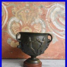 Antigüedades: COPA DE BRONCE ANTIGUA CON TRABAJO GRECOROMANO S. XIX. Lote 196768800