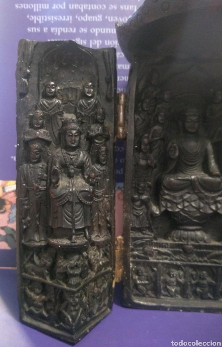 Antigüedades: Tríptico Altar Budista Plegable Tibetano - Foto 6 - 196786800