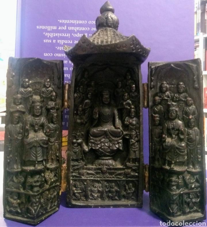 Antigüedades: Tríptico Altar Budista Plegable Tibetano - Foto 4 - 196786800