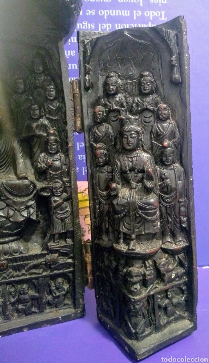 Antigüedades: Tríptico Altar Budista Plegable Tibetano - Foto 11 - 196786800