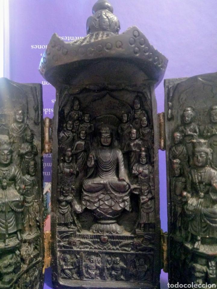 Antigüedades: Tríptico Altar Budista Plegable Tibetano - Foto 14 - 196786800