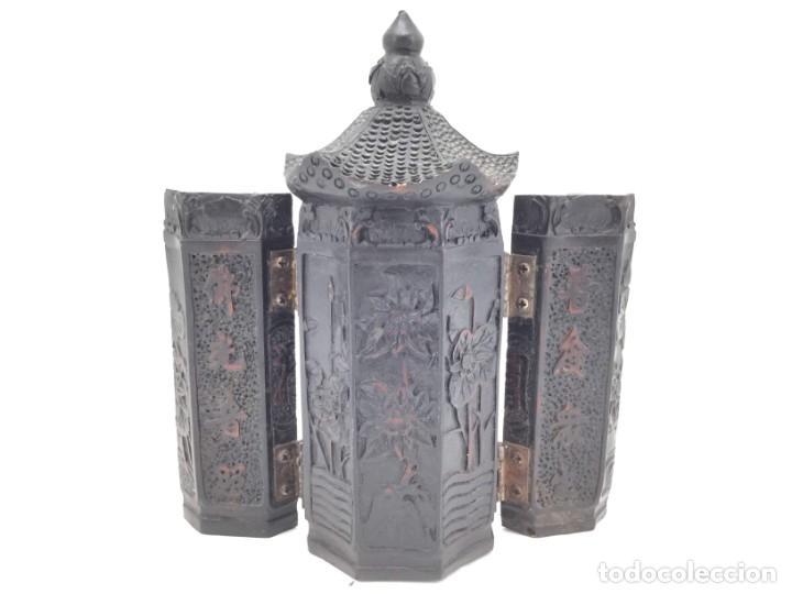 Antigüedades: Tríptico Altar Budista Plegable Tibetano - Foto 2 - 196786800