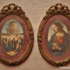 Antigüedades: IMÁGENES RELIGIOSAS EN MARCO FILIGRANA CON CRISTAL. Lote 196786936