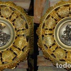 Antigüedades: PAREJA DE PLATOS DE BRONCEADOS ESCENAS DE PASTORES. Lote 196792042