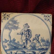 Antigüedades: BONITO AZULEJO DE DELFT SIGLO XVIII.. Lote 196941118