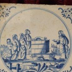Antigüedades: BONITO AZULEJO DE DELFT SIGLO XVIII.. Lote 196941433