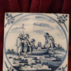 Antiquités: BONITO AZULEJO DE DELFT SIGLO XVIII. Lote 196942488