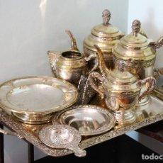 Antigüedades: CONJUNTO DE CAFÉ Y TÉ EN ALPACA, NUEVE PIEZAS, AÑOS 50, BIEN CONSERVADO. Lote 196953630
