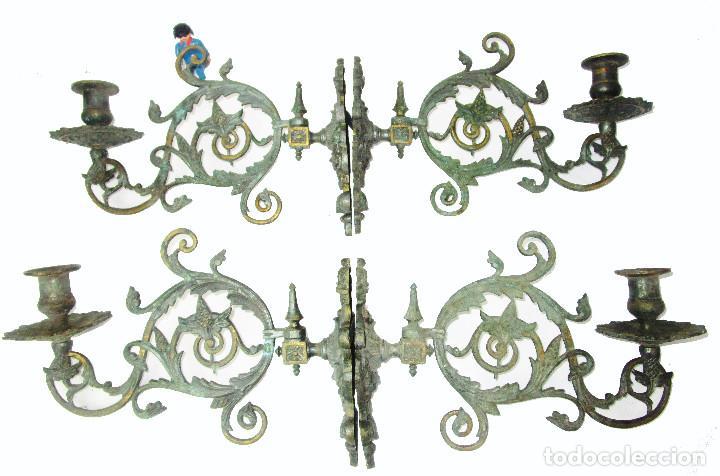 Antigüedades: SUPER LOTE DE 4 CANDELABROS LAMPARAS DE PARED S. XVIII-XIX BRONCE CAPILLAS ALTAR IGLESIA - Foto 4 - 211737296