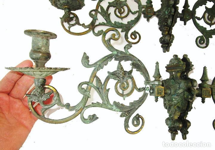 Antigüedades: SUPER LOTE DE 4 CANDELABROS LAMPARAS DE PARED S. XVIII-XIX BRONCE CAPILLAS ALTAR IGLESIA - Foto 6 - 211737296