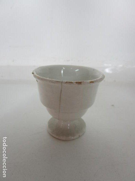 Antigüedades: Centro de Mesa - Huevera Isabelina - Porcelana con Ribetes Doradas - S. XIX - Foto 11 - 196970153