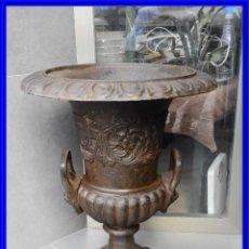 Antiquités: BONITA COPA DE HIERRO CON TRABAJO FLORAL Y DOS ASAS ALTURA 60 CM. Lote 226812085
